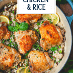 Close overhead image of one pot chicken and rice with text title overlay