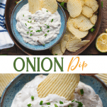 Long collage image of onion dip