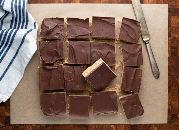 Overhead shot of chocolate peanut butter bars recipe cut into squares