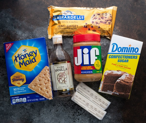 Ingredients for peanut butter chocolate bars recipe
