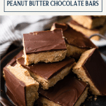 Tray of peanut butter chocolate bars with text title box at top