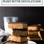 Stack of no bake peanut butter chocolate bars with text title box at top