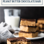 Bite out of a peanut butter chocolate bar with text title box at top