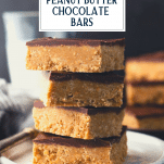 Reese's peanut butter cup bars with text title overlay