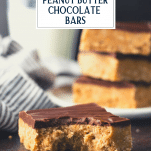 Peanut butter chocolate bar with a bite taken out