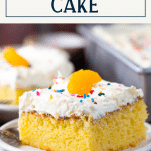 Close up side shot of mandarin orange pig pickin cake with text title box at top