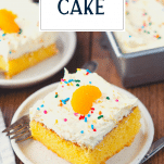 Slice of the best pig pickin cake recipe with text title overlay