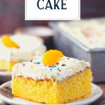 Slice of orange pig pickin cake with text title overlay
