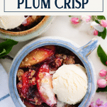 Close overhead shot of a bowl of plum crisp with text title box at top