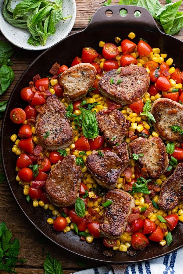 Close overhead shot of pan seared pork tenderloin medallions recipe