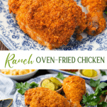 Long collage image of Ranch oven fried chicken