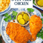 Overhead image of Ranch oven fried chicken on a plate with text title overlay