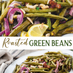 Long collage image of roasted green beans