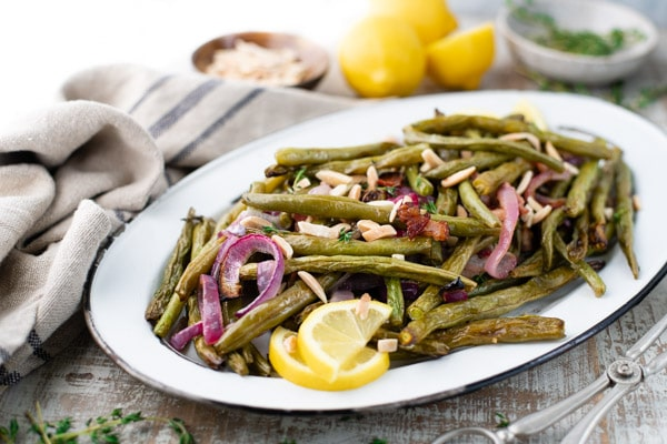 Horizontal shot of a tray of the best oven roasted green beans