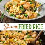 Long collage image of Shrimp Fried Rice