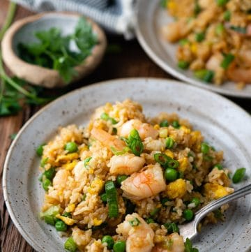 Side shot of a plate of shrimp fried rice with a fork