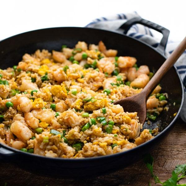 Square shot of a skillet full of easy shrimp fried rice