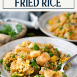 Plate of shrimp fried rice with text title box at top