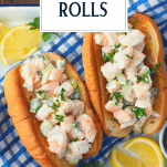 Overhead image of shrimp rolls on a platter with text title overlay