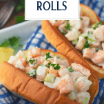 Close up side shot of shrimp rolls with text title overlay