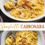 Long collage image of easy spaghetti carbonara