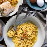 Overhead image of a bowl of easy spaghetti carbonara