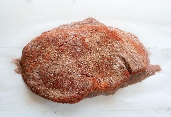 Chuck roast seasoned with bbq rub