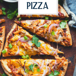 Close overhead shot of the best bbq chicken pizza with text title overlay