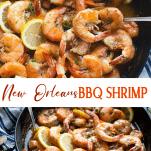 Long collage image of BBQ Shrimp