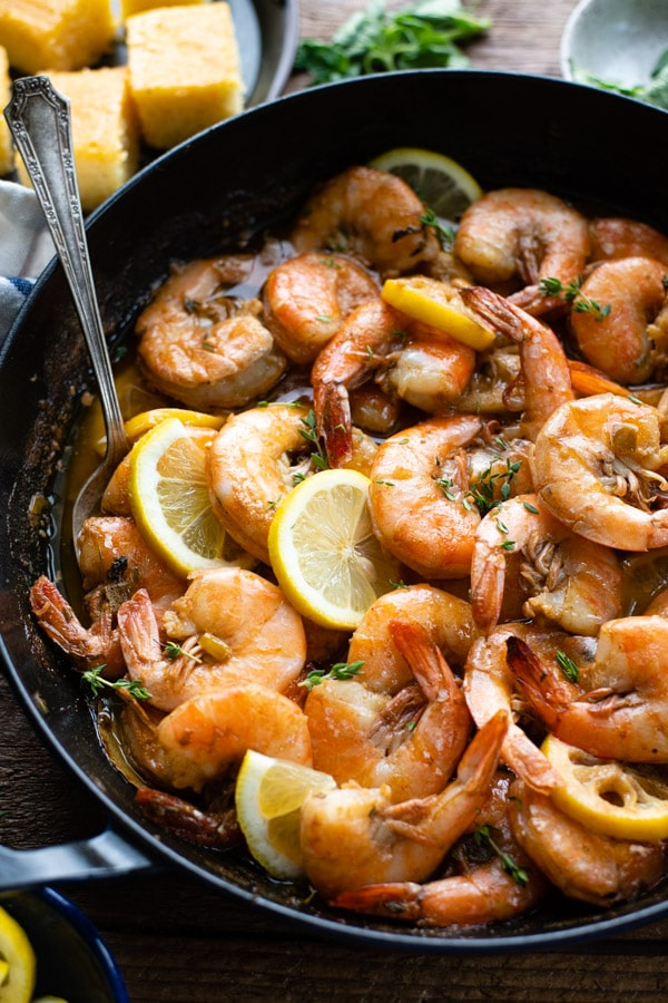 Close up side shot of barbecue shrimp in oven