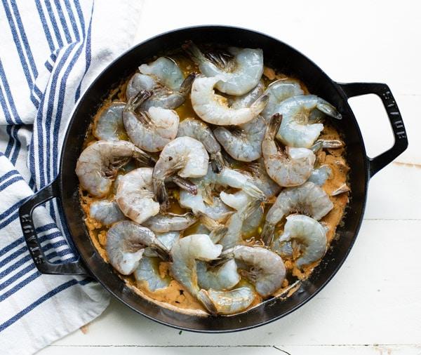 Process shot showing how to make bbq shrimp