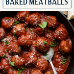 Spoon serving a pan of baked meatballs with text title box at top