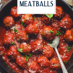 Easy Italian baked meatballs in a skillet with text title overlay