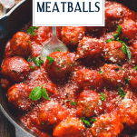 Close up shot of a spoon serving baked meatballs with text title overlay