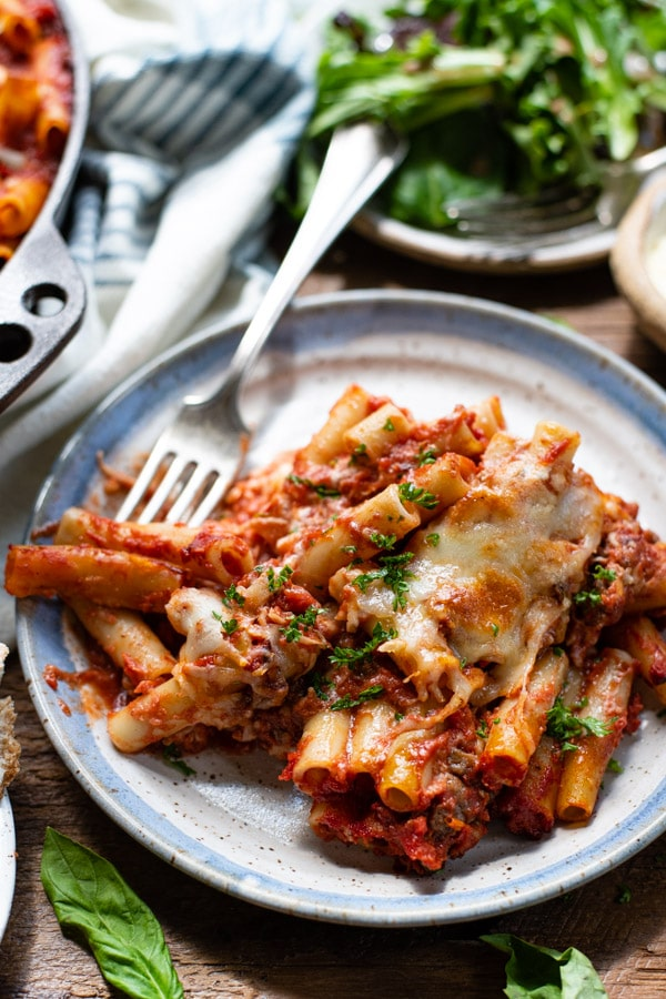 Front shot of a plate of baked ziti