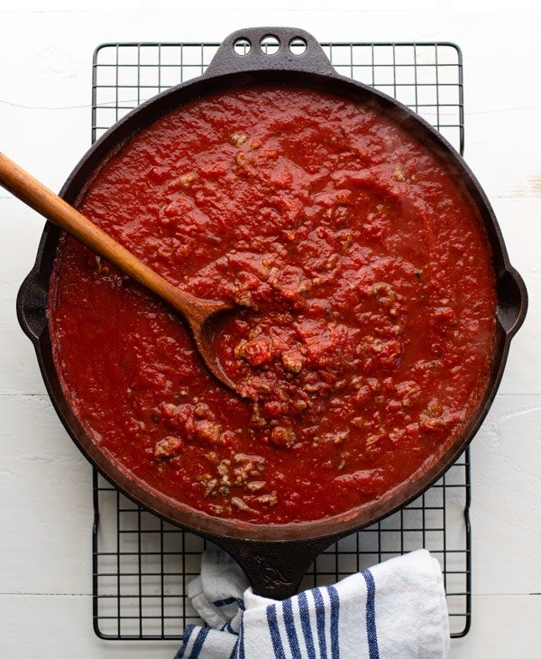 Homemade marinara sauce in a skillet