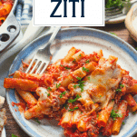 Plate of baked ziti with text title overlay