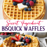 Long collage image of Bisquick waffles