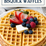 Close up shot of a plate of Bisquick waffles with text title box at top
