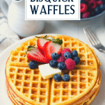 Close up image of a plate of Bisquick waffles with text title overlay