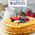 Side shot of stack of waffles with text title overlay
