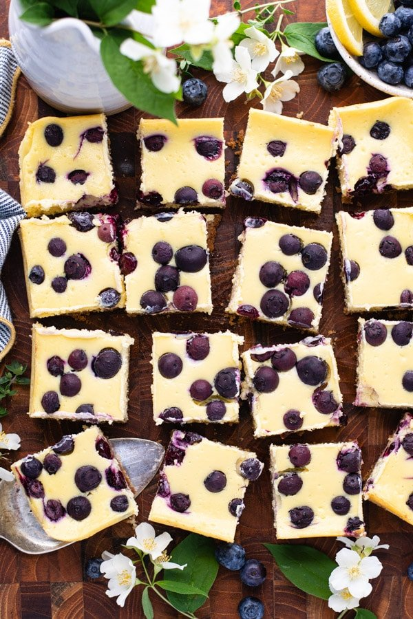 Overhead image showing how to cut cheesecake bars