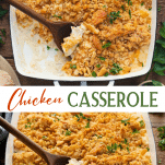 Long collage image of chicken casserole