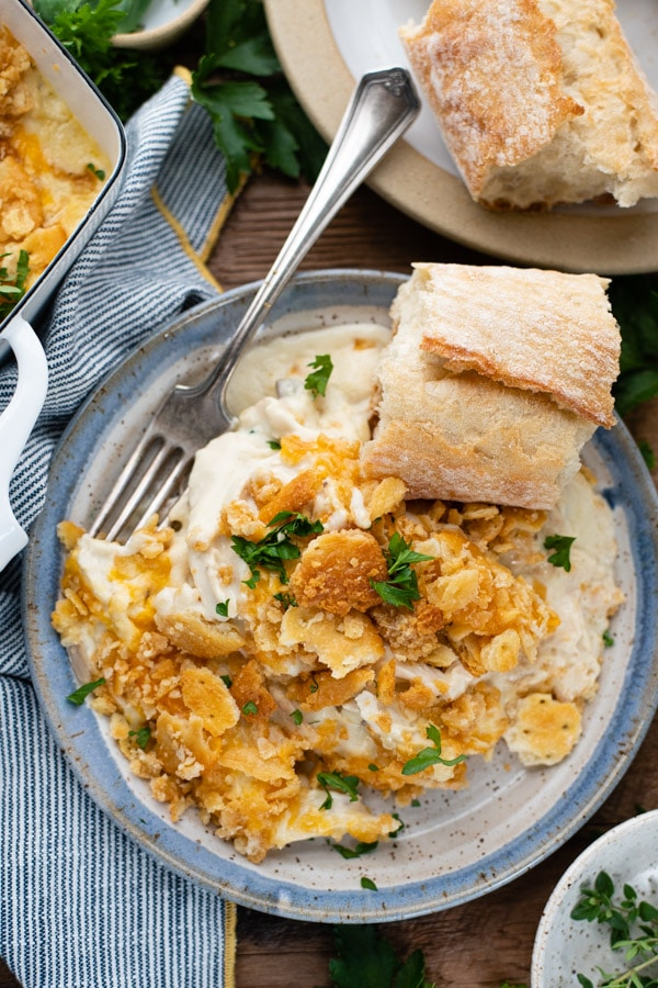 Overhead shot of creamy chicken casserole with ritz crackers on a plate