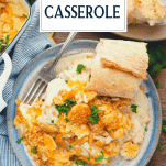 Overhead shot of a plate of creamy chicken casserole with text title overlay