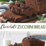 Long collage image of chocolate zucchini bread
