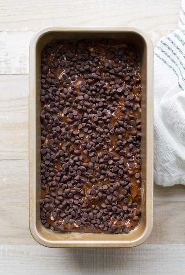 Double chocolate zucchini bread with chocolate chips on top in a pan before baking