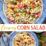 Long collage image of summer corn salad