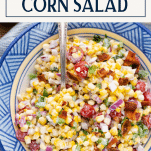 Close overhead image of summer corn salad with text title box at top