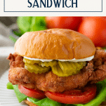 Chik fil a fried chicken sandwich recipe with text title box at top